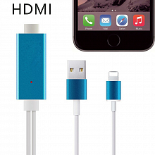 Кабель HDMI-Apple iPhone 5/6/7 с питанием через USB, 2 метра 04